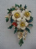 English Enamel Brooch -1960s -  Christmas Rose with Holly and Berries signed Exquisite (SOLD)